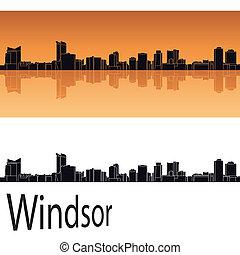 Windsor skyline in orange background in editable vector file