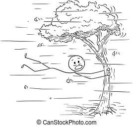 windstorm, árbol, caricatura, tenencia, fuerte, o, viento, ...