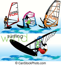 windsurf, jogo, silhuetas