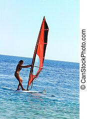 windsurf, -, menina, surfista