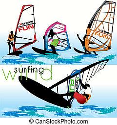 windsurf, sæt, silhuetter