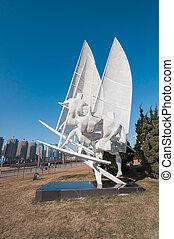Windsurf sculpture at Xinghai square. - Dalian, China -...