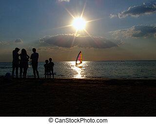 windsurfen, an, sonnenuntergang