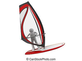 windsurfer, -, cobrança, esportes
