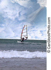 windsurfer in a storm gust