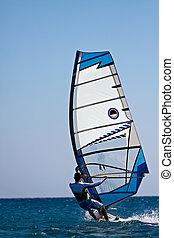 windsurfer, jovem, vista traseira