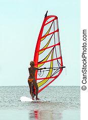 windsurfer, menina, silueta