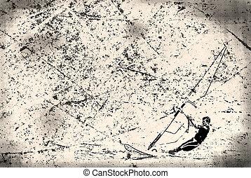 windsurfer on the old paper , grunge background