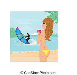 Windsurfer on the wave