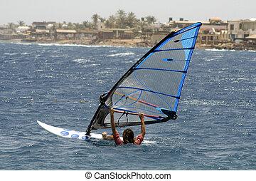 windsurfer, red sea beach resort, sinai, egypt