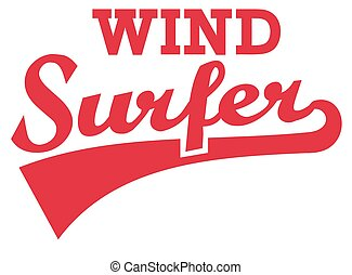 Windsurfer retro word