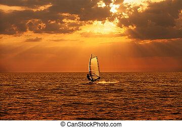 Windsurfer sailing in the sea