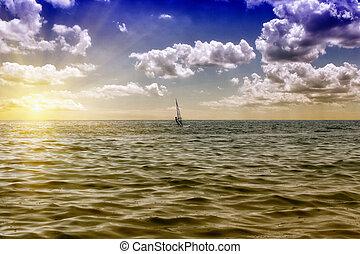 Windsurfer sailing