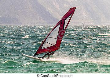 windsurfing, auf, see, garda, italy.