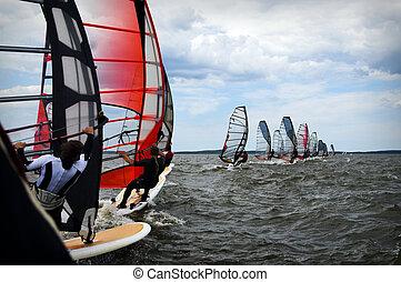 windsurfing, evento, em, mar báltico