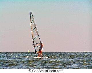 windsurfing, für, starke , und, mutig