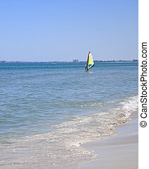 Windsurfing in a tropical island