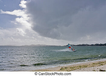 Windsurfing in the storm