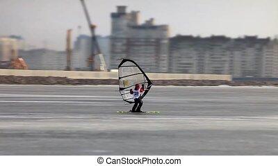 Windsurfing on the ice