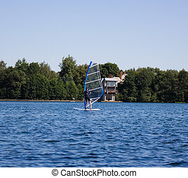 windsurfing on the lake