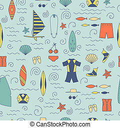 Windsurfing seamless pattern.
