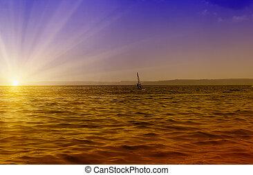 windsurfing sunset