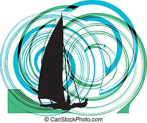 Windsurfing. Vector illustration