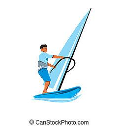 windsurfing, vektor, zeichen