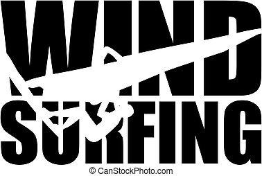 Windsurfing word with silhouette cutout