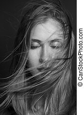 windswept, escuro, mulher, spa., hairstyle., beleza,...
