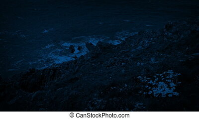 Windswept Grassy Cliffs By The Sea At Night - Looking down...