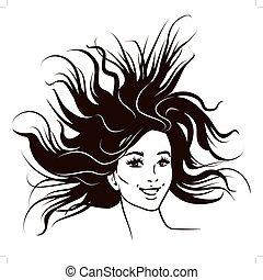 windswept, stile, moda, donna, illustrazione, inchiostro, giovane, lungo, bianco, fiducioso, penna, libro, nero, attraente, femmina, hair., fluente, portrait., comico, sorridente