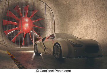 windtunnel, begriff, auto