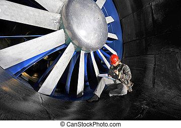 windtunnel, trabalhador, mainenance