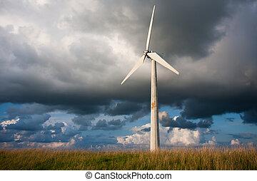 Windturbine with a beautiful Dutch Cloudscape