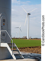 Windturbines producing clean energy in the netherlands
