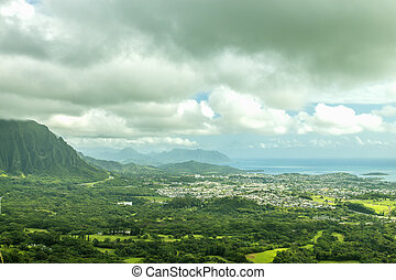 The town of Kaneohe and the Windward coast of Oahu, Hawaii
