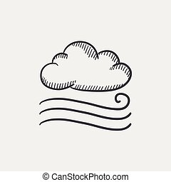 Windy cloud sketch icon. - Windy cloud sketch icon set for...