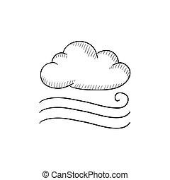 Windy cloud sketch icon. - Windy cloud vector sketch icon...