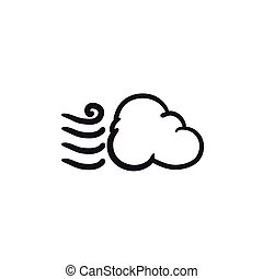 Windy cloud sketch icon. - Windy cloud vector sketch icon...