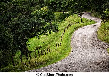 Windy Costa Rica road near Santa Elena