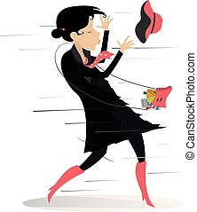 Young woman with a fancy bag tries to catch a hat gone with the wind isolated on white illustration
