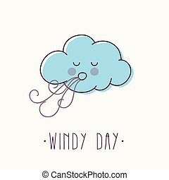 Cartoon vector illustration of windy cloud.