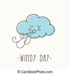 Windy Day - Cartoon vector illustration of windy cloud.