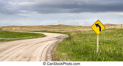windy dirt road in Nebraska Sandhills