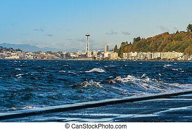 Windy Elliott Bay 3 - A view of Elliott Bay with Alki Beach ...
