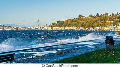 Windy Elliott Bay - A view of Elliott Bay with Alki Beach ...