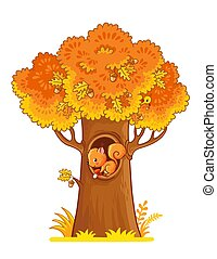 Windy illustration with an autumn yellow tree and a squirrel in the hollow.