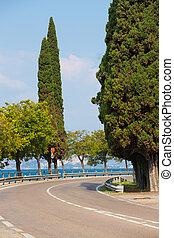 windy road along Garda lake