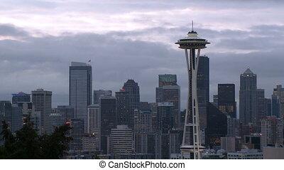 Windy Seattle skyline - time lapse